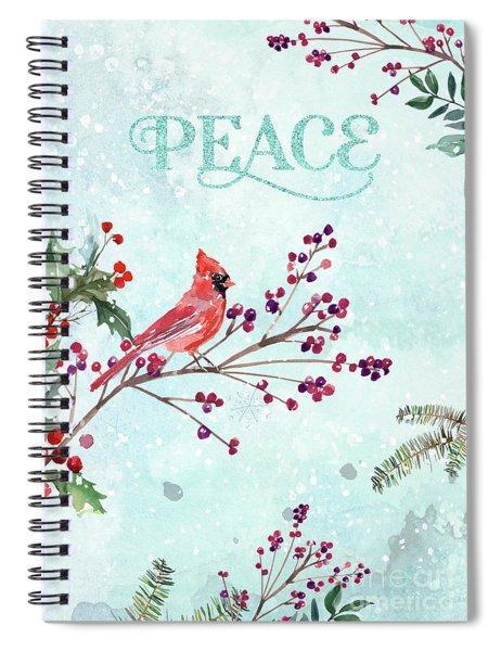 Woodland Holiday Peace Art Spiral Notebook