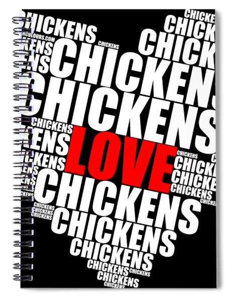 Word Cloud White Love Chickens Spiral Notebook