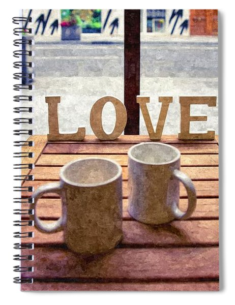 Word Love Next To Two Cups Of Coffee On A Table In A Cafeteria,  Spiral Notebook