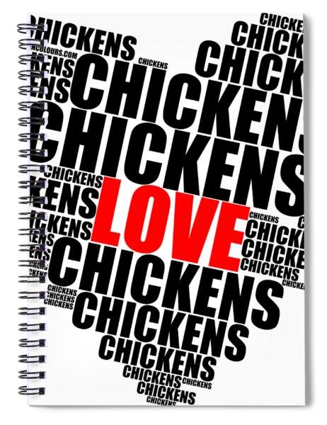 Wordcloud Love Chickens Black Spiral Notebook