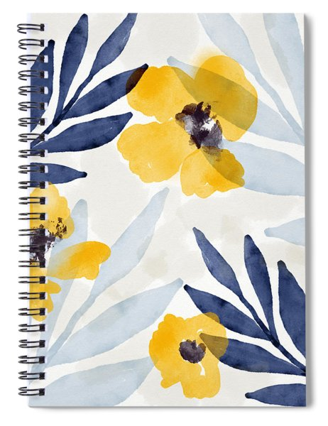 Yellow And Navy 1- Floral Art By Linda Woods Spiral Notebook