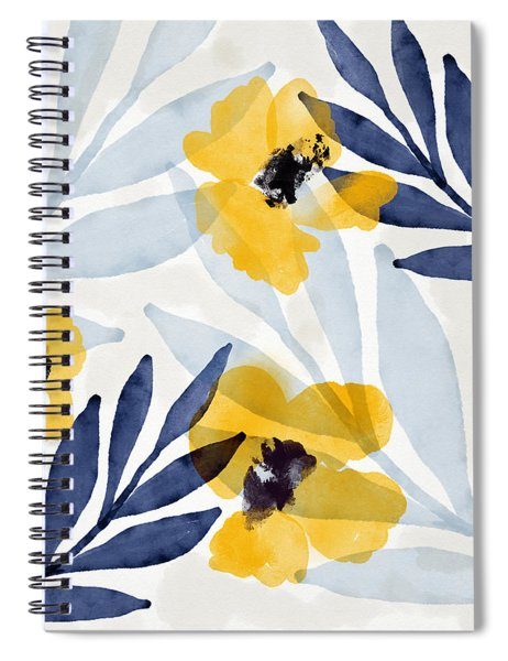 Yellow And Navy 2- Floral Art By Linda Woods Spiral Notebook