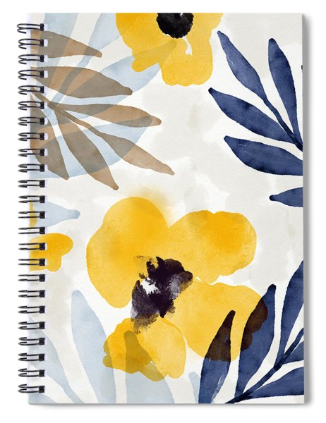 Yellow And Navy 3- Floral Art By Linda Woods Spiral Notebook