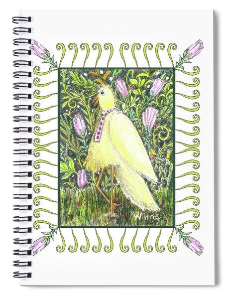 Yellow Bird With Tie Spiral Notebook