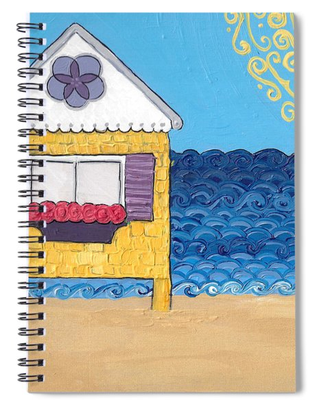 Yellow Cottage On The Beach Spiral Notebook