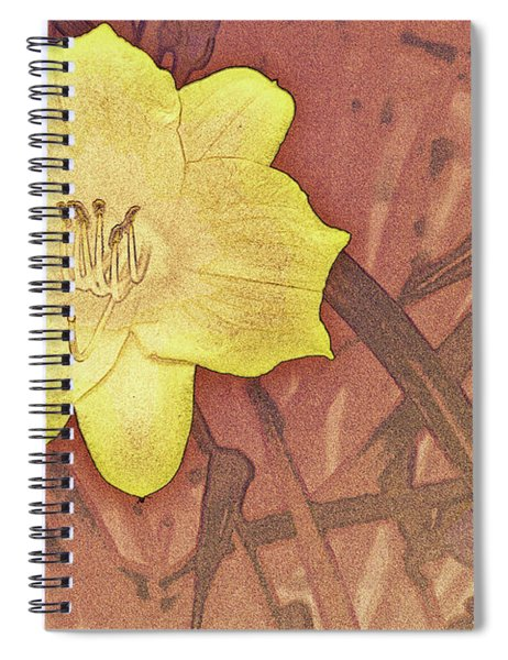 Yellow Day Lily Stencil On Sandstone Spiral Notebook