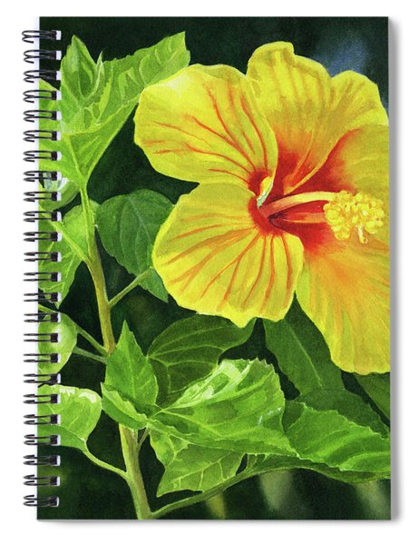 Yellow Hibiscus With Bright Green Leaves Spiral Notebook
