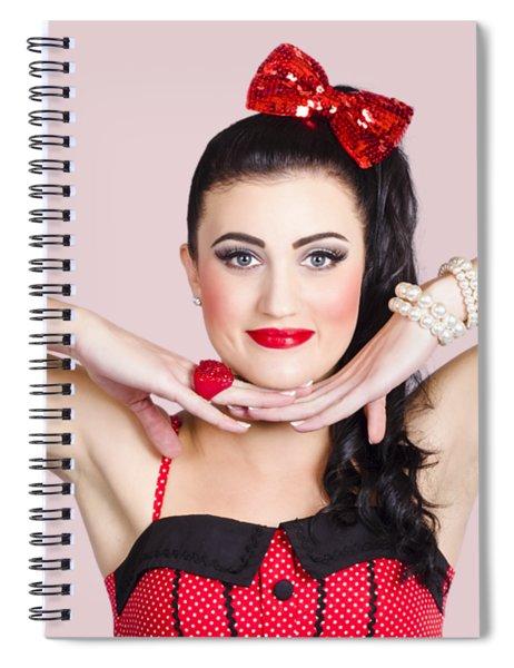 Young Beautiful Make-up Pin Up Woman Posing Spiral Notebook