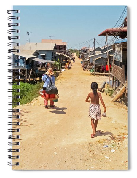 Young Girl Going Home - House On Stilts - Siem Reap, Cambodia Spiral Notebook