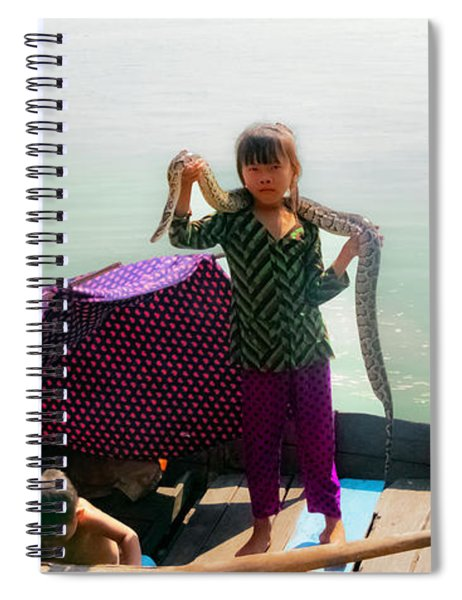 Young Girl With Snake , Cambodia Spiral Notebook