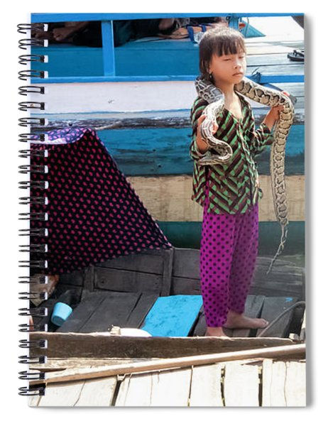 Young Girl With Snake 2, Cambodia Spiral Notebook