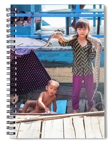 Young Girl With Snake 1, Cambodia Spiral Notebook