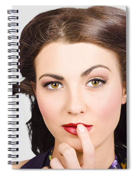 Young Model With Bright Make-up And Clean Nails Spiral Notebook