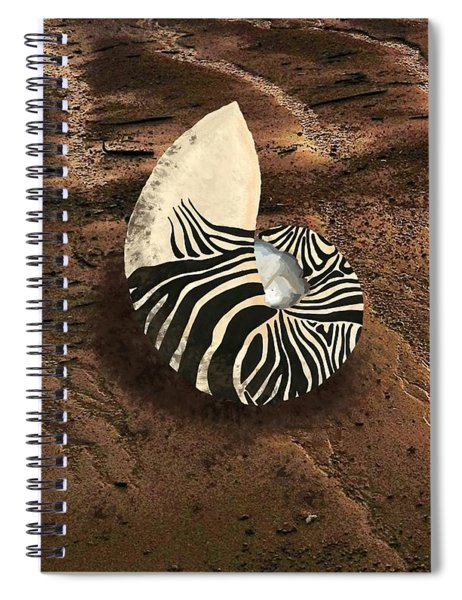 Zebra Nautilus Shell On The Sand Spiral Notebook