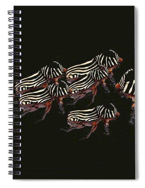 Zebra Pattern Rhinoceros Beetle 3 Spiral Notebook