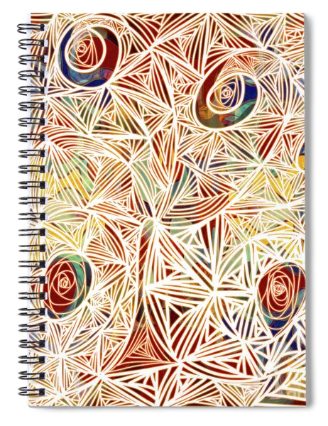 Zen Circles Tree Of Life Abstract Mixed Media Art By Omaste Witkowski Spiral Notebook