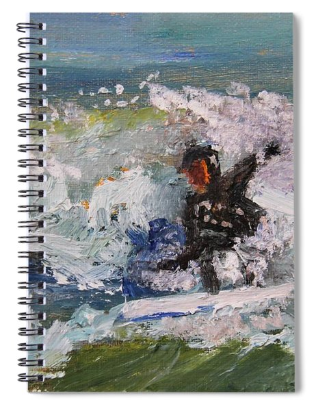 Zen Surfing, One With The Wave Spiral Notebook