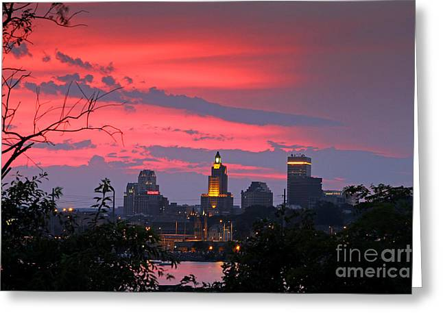 4th Of July Sunset Providence Ri Greeting Card