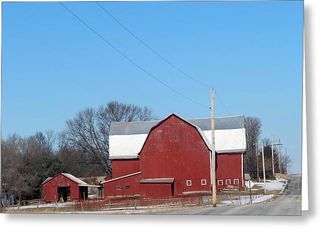 Large Red Barn Greeting Card
