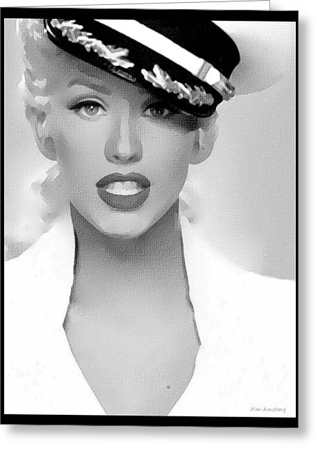 # 1 Christina Aguilera Portrait. Greeting Card by Alan Armstrong