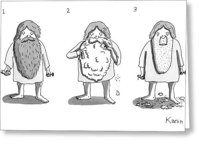 1. Man With Long Beard Holds Razor And Shaving Greeting Card