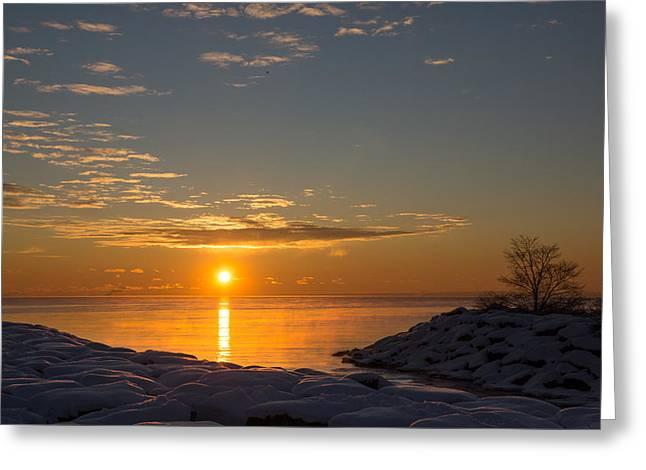 Greeting Card featuring the photograph -15 Degrees Sunrise by Georgia Mizuleva