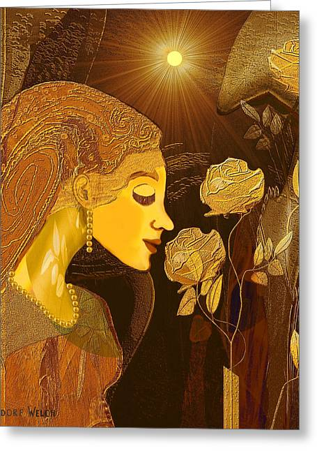 171 - Woman With Golden Roses     Greeting Card by Irmgard Schoendorf Welch
