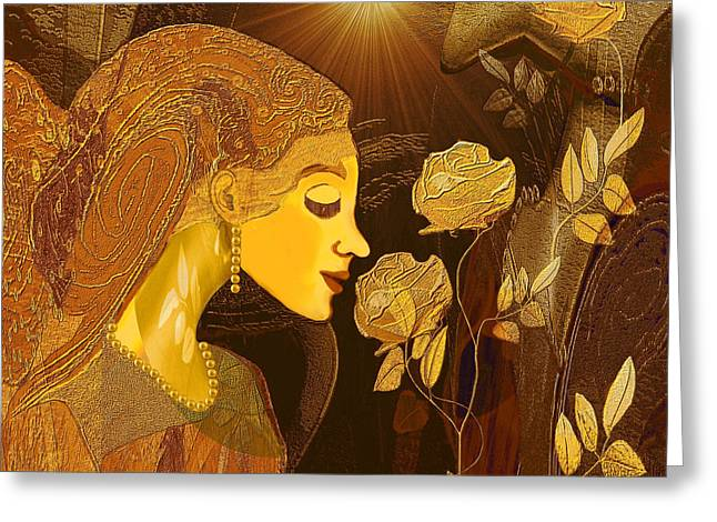 171 - Woman With Golden Roses     Greeting Card