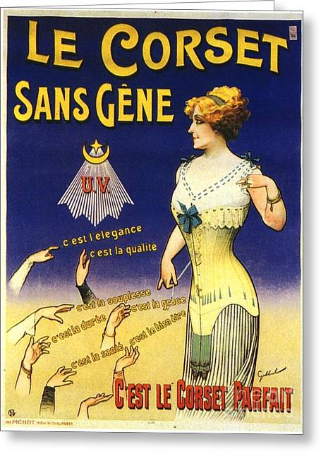 1890s France Womens Underwear Corsets Greeting Card by The Advertising Archives