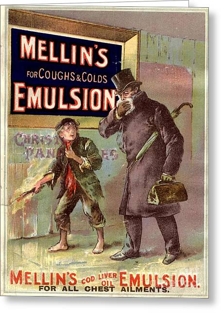 1890s Uk Mellin�s Emulsion Coughs Greeting Card by The Advertising Archives