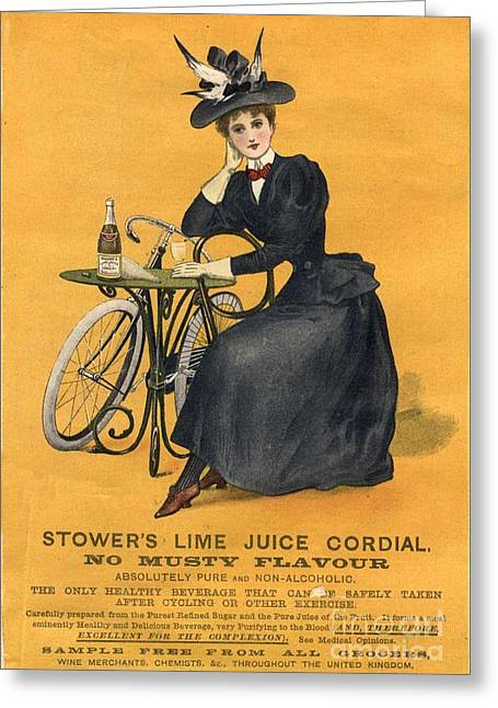 1890s Uk  Stowers Lime Juice Cordial Greeting Card by The Advertising Archives