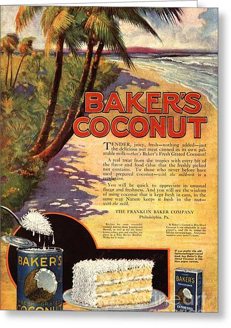 1910s Usa Bakers Coconuts Cakes Baking Greeting Card by The Advertising Archives