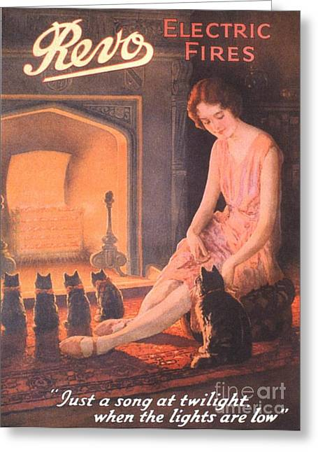 1920s Uk Fires Cats Revo  Appliances Greeting Card by The Advertising Archives