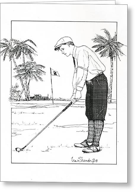 Greeting Card featuring the drawing  1920's Vintage Golfer by Ira Shander