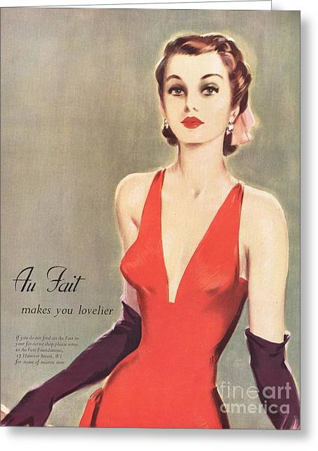 1940s Uk Au Fait Womens Dresses Gloves Greeting Card by The Advertising Archives