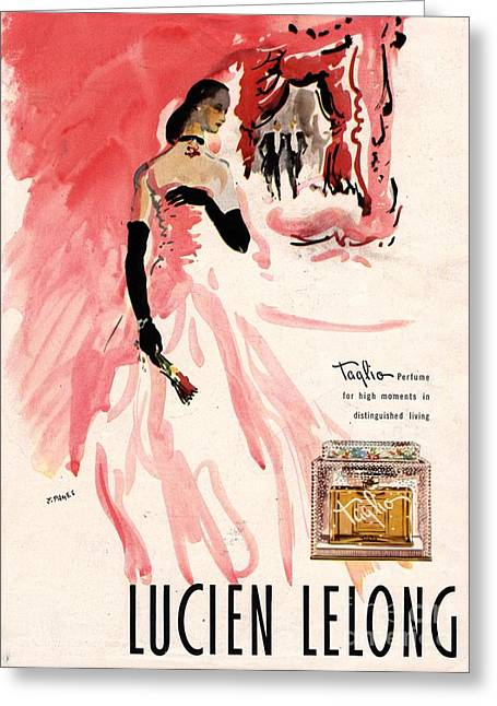 1940s Usa Lucien Lelong   Theatre Greeting Card by The Advertising Archives