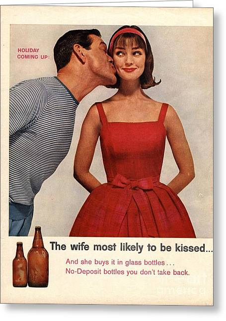 1950s Usa Kissing Sexism Greeting Card by The Advertising Archives
