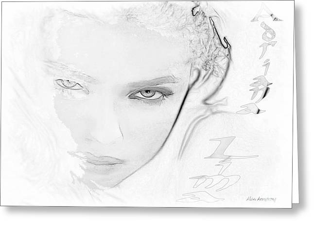 # 25 Adriana Lima Portrait Greeting Card by Alan Armstrong