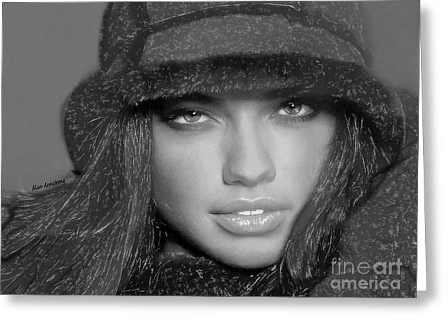 # 5 Adriana Lima Portrait Greeting Card by Alan Armstrong