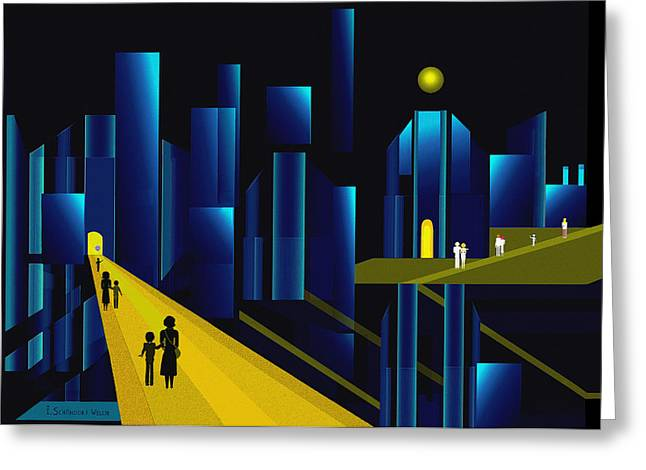 955 -  Moonlit City    Greeting Card