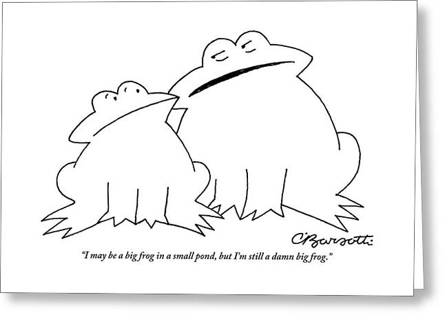 A Big Frog Talks To A Smaller Frog Greeting Card