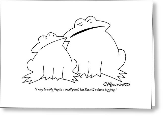 A Big Frog Talks To A Smaller Frog Greeting Card by Charles Barsotti
