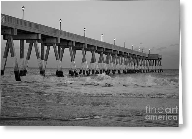 A Black And White Of Johnnie Mercers Pier At Daybreak Greeting Card