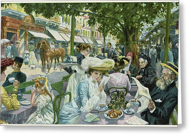 A Busy Time In The 'alte  Wiese' Cafe Greeting Card by Mary Evans Picture Library