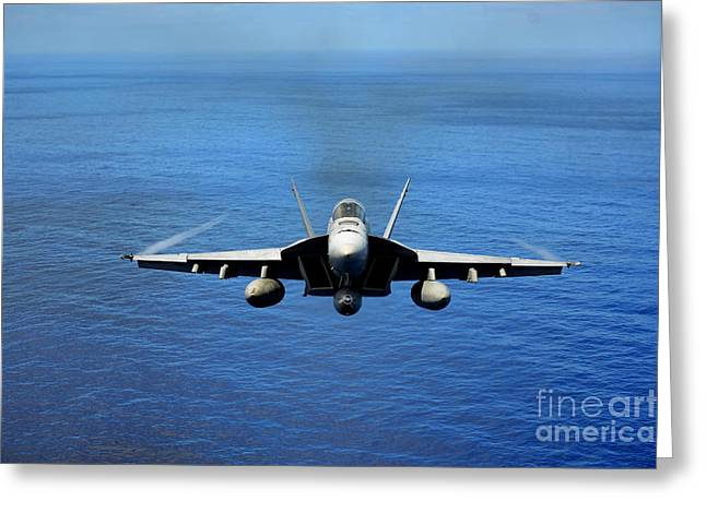 Greeting Card featuring the photograph  A Fa-18 Hornet Demonstrates Air Power. by Paul Fearn
