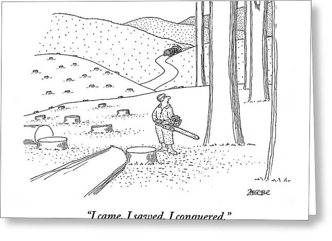 A Lumberjack Stands In A Forest. Half Greeting Card