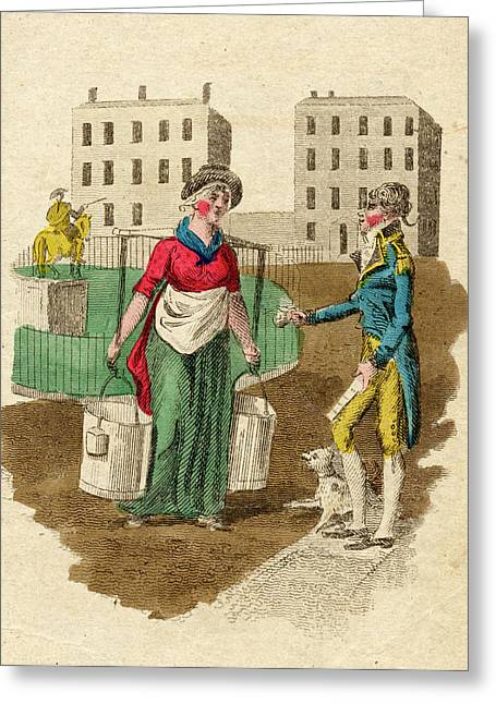A Milkmaid Sells Fresh Milk  From Two Greeting Card