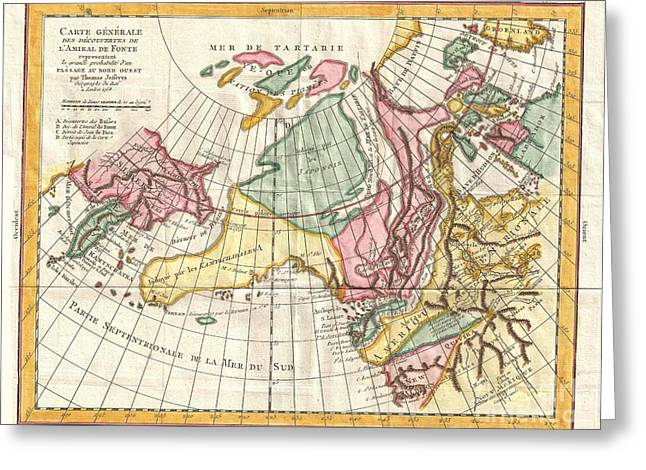 A Truly Fascinating 1772 Map Of The Northwestern Parts Of North America By Robert De Vaugondy And T Greeting Card