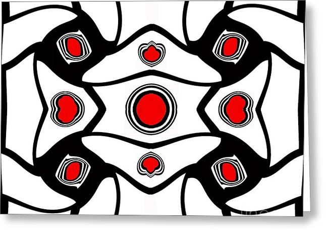 Abstract Geometric Black White Red Art No. 380. Greeting Card by Drinka Mercep