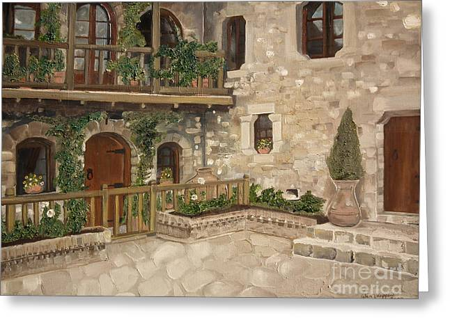 Greek Courtyard - Agiou Stefanou Monastery -balcony Greeting Card